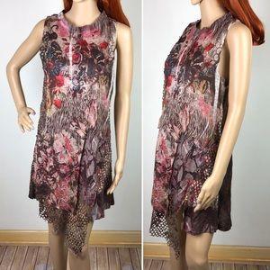 Aris A Brown Floral Pink Sleeveless Dress Mesh Net